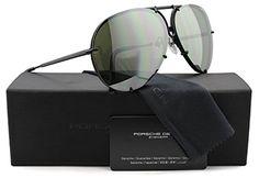 92e704035ef Porsche Design P8478 D Aviator Sunglasses Matte Black w Crystal Brown and  Olive Silver Mirror