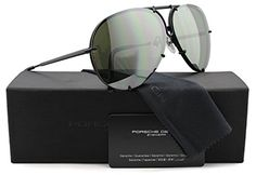 Porsche Design P8478 D Aviator Sunglasses Matte Black w/Crystal Brown and Olive Silver Mirror (V656) 8478 66mm Authentic
