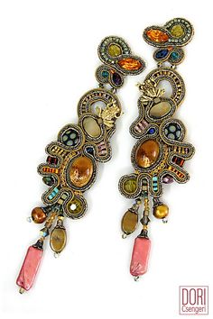 Fabulous soutache clip-ons combining glass stones, pearls and crystals