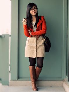 Khaki + polka dots + bright jacket = classy fall outfit. Love this for work.
