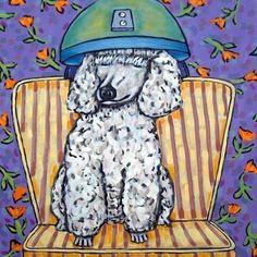Poodle wine bar painting dog art  animal 13x19  GLOSSY PRINT