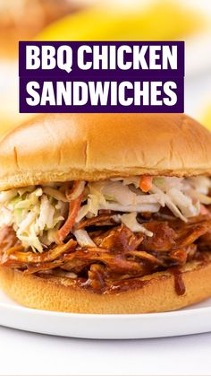 Easy Bbq Chicken, Bbq Chicken Sandwich, Chicken Sandwich Recipes, Southern Cooking Recipes, Yummy Snacks, Pulled Pork, Food To Make, Sandwiches, Good Food
