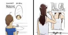 Relatable Tall & Short Girl Problems As Illustrated By Sara Pocock Girl Problems Funny, Short Girl Problems, Women Problems, Short Girl Memes, Short Girls, Tall Girls, Funny Kid Memes, Funny Relatable Memes, Wtf Funny