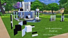 Black & White blocks, columns and walls at Khany Sims via Sims 4 Updates