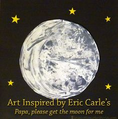 """Art Inspired by Eric Carle's """"Papa, please get the moon for me"""" Celebrating Eric Carle's birthday with a fabulous link party of Eric Carle themed posts!"""