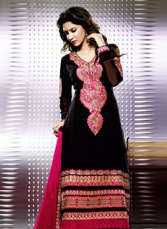 Awaited Black Georgette Churidar Suit