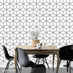 Fototapete mit geometrischem Muster hinter dem Esstisch. ________________ #tapete #wallpaper #wohnen #interior #einrichten #inspiration #living #wandgestaltung #panton #vintage #esstisch