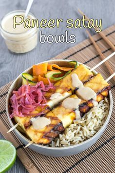 Paneer satay bowls - this peanut butter satay sauce is seriously easy to make! A brilliant vegetarian version of chicken satay.