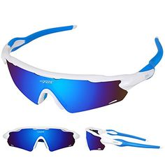 Batfox Polarized Sports Sunglasses with Interchangeable Lenses Comfortable Silicone Leg tr90 Unbreakable Frame for Running Cycling Baseball Fishing Driving Outdoor 100% UV Protection  Three Interchangble UV400 Coated Lens; It Can Block 99%-100% of both UVA and UVB Harmful Radiation and Colorful Lens are Polarized  Come With Silicone nose pads Give you the best fit  Anti-slip Silicone Glasses Leg Prevent Glasses Falling Easily  Lens Made of Shatterproof Unbreakable PC Material are Durab...