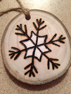 Rustic hand painted Snowflake wood burned Christmas ornament - natural wood