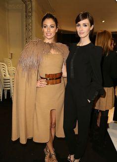 Bianca Suarez and Paz Vega at Stephane Rolland http://thecarousel.com/front-row-paris-milan-london-fashion-weeks/#foobox-1/0/fake-feather-beige.jpg