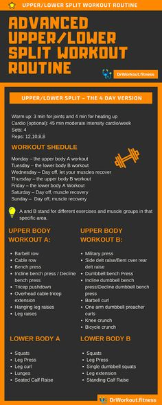 Advanced Upper/Lower Split – 4 Day Full Body Workout Routine – Famous Last Words Split Workout Routine, 4 Day Workout, Upper Body Workout For Women, Workout Splits, Full Body Workout Routine, Workout Plan For Women, Weekly Workout Plans, Gym Routine Women, Weekly Workouts