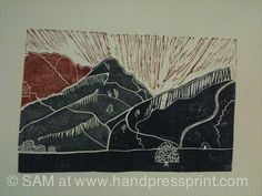 Arthur's Seat, Edinburgh - sun rise, lino print by handpressprint, via Flickr