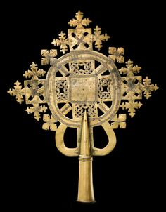 Africa | Processional cross from Ethiopia | Bronze. These types of crosses are made using the lost wax method, and each one is unqiue.