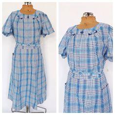 PLUS SIZE NOS Vintage 1950s Frock Dress Blue Checkered Cotton Sundress 1940s House Dress Country Folk Size Large Day Dress Plaid Shirt Dress