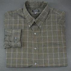 VAN HEUSEN Mens shirt XL 17-17.5 Free Shipping LS  green plaid long sleeve  #VanHeusen #ButtonFront