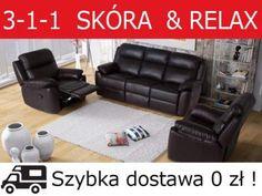Mega Wygoda Zestaw TV RELAX 3+1+1 Skóra Bostonsofa