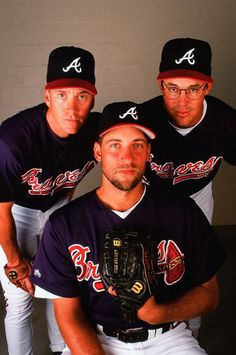 Tom Glavine John Smoltz and Greg Maddux of the Atlanta Braves pose for a portrait during Spring Training on March 20 1997 Baseball Star, Braves Baseball, Sports Baseball, Baseball Tickets, Basketball, Baseball Equipment, Baseball Field, Baseball Cards, Mlb Players
