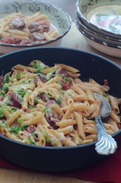Skillet Sausage Pasta by From Valerie's Kitchen - cooked all in one pot and ready in under 30 minutes!