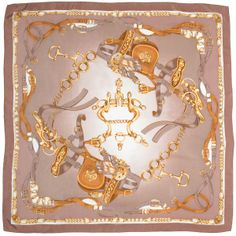 Equestrian Square Silk Scarf in Tans over Black at Zia Moda