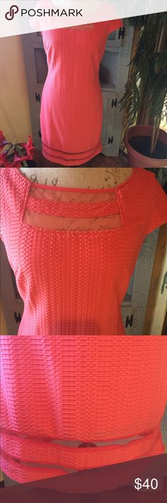 "Sharagano dress Pretty coral dress fully lined with netting accents. Zips up the back with pretty a pretty gold colored zipper. Chest: 17"", length: 36"" 96% polyester, 4% spandex. Excellent condition sharagano Dresses Midi"