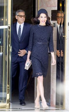 Amal Clooney & George Clooney on their way to a visit to the Vatican