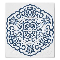 Shop Chinese Medallion blue Poster created by thezengarden. Pattern Art, Color Patterns, Chinese Tea Room, Chinese Ornament, Asian Artwork, Tibetan Art, Blue Poster, Chinese Design, Chinese Painting