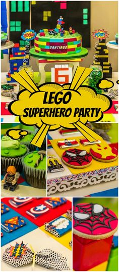 This cool party features both Legos and superheroes! See more party ideas at CatchMyParty.com!