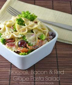 Love the sweet, tangy and salty combo! Broccoli, Bacon and Red Grape Pasta Salad