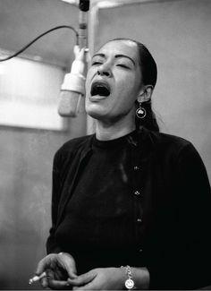 "Billie Holiday recording ""Lady in Satin,"" New York City, December 1957 Don Hunstein"