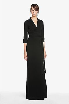 DVF Samira Wrap Dress in Black