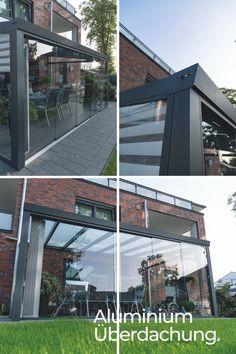 Formschön und elegant schützt es Ihren Freisitz vor Regen und schlechtem Wetter. Terrassenüberdachung aus Aluminium UND Glasschiebewände aus VSG für den Wetterschutz. Einfach Schön!