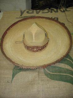 Old Mexican Sombrero Western-Charro-Hat-Straw-Rustic-Vaquero-El Charro e6966692b14