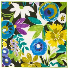 Turquoise Big Flower Large Square Silk Scarf   colliercampbell.com