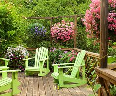 Great Ideas to Liven Up Your Deck. Love the lime green chairs.