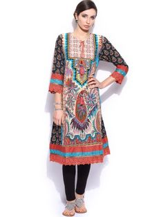 Ritu Kumar Women Multicoloured Printed Churidar Kurta