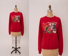 Vintage 1980s Red Christmas Cat Sweatshirt • Revival Vintage Boutique by RevivalVintageBoutiq on Etsy