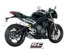 Triumph Street Triple 765 2017 Slip-On Exhaust. The SC-Project Exhaust options for the Street Triple 765 represent the very best in motorcycle exhaust performance while delivering on price. SC-Project offer handmade excellence from the passion of Italy. Triumph Street Triple, Motorcycle Exhaust, Exhausted, Projects, Log Projects