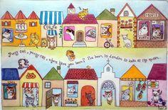 銅版画マザーグース「Pussycat, pussycat, where have you been?」 次の点滴堂企画店「猫語の教科書」に向けて! 実家にいた子や近所の野良ちゃんなどがいます!
