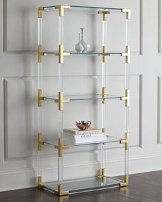 Jacques Lucite & Brass Etagere by Jonathan Adler at Horchow.