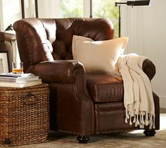 Lansing Leather Recliner, Polyester Wrapped Cushions, Signature Whiskey