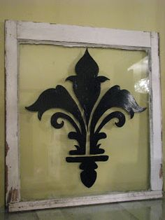 window pane -- stencil designs onto glass, maybe frosted glass with a lace design Window Pane Picture Frame, Window Panes, Old Wood Windows, Old Window Projects, Window Ideas, Country Art, Country Kitchen, French Country, Window Design