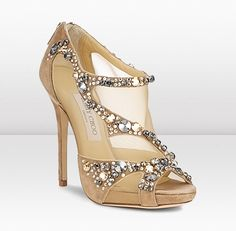 """Jimmy Choo """"Quinze"""" Suede, Leather, and Mesh Sandal with Swarovski Crystal Embellishment"""