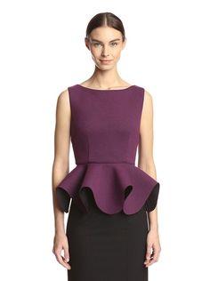 Gracia Women's Scuba Peplum Top,