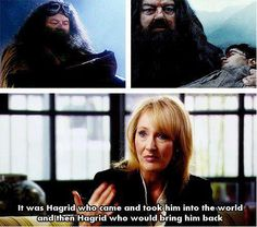 I always thought it was so beautiful that Hagrid was the one who carried Harry because after seven years and how important Harry became and all the people he met, it all went back to the first friend he ever had.