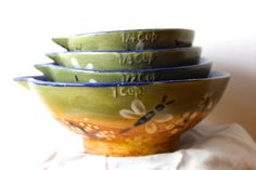 moos green amber ceramic set of  4 measuring cups,beautiful hand painted,gift for him & her the baker or cook christmas gift measuring cups