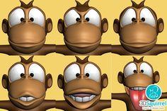 Cartoon monkey RIGGED 3D Model obj fbx max stl 3ds | 3DSquirrel