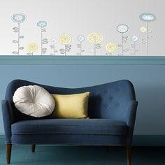 Sticker FLEURS VINTAGE coloris bleu acier - by Sophie Ferjani