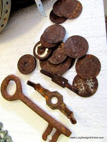 Rusting metal pieces. Salt, vinegar and hydrogen peroxide. TW