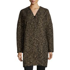 Lafayette 148 New York Lorraine Metallic Long Coat ($314) ❤ liked on Polyvore featuring outerwear, coats, black multi, longline coat, lafayette 148 new york, tweed coats, long tweed coat and long coat